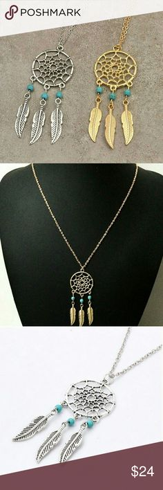 New! Boho Feather Dream Catcher Pendant Necklaces Brand NWT in original packaging  Bohemian necklace in silver or gold Boho feather tassels, turquoise stone beads, dream catcher pendant long necklace Silver / gold plated chain, Nickel & Lead free  45cm + 5cm extender for adjustable length  Lobster claw clasp closure  Pendant: 5.7cm Bundle & save! Jewelry Necklaces