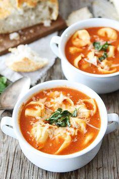 Creamy Tomato Tortellini Soup Recipe on twopeasandtheirpod.com