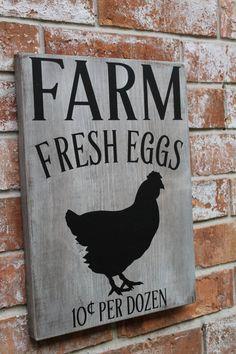 Farm Fresh Eggs Sign Primitive Farm Sign Fresh by GogginsCreations