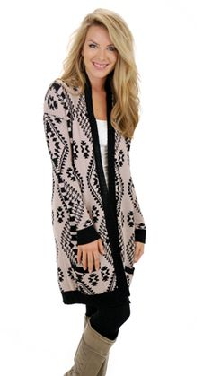 Aztec cardigans are the way to wear cardigans this season. Neutral colors are hot! Paired together, this is a show stopper!