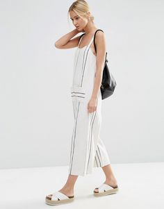 Image 4 of ASOS Jersey Overall in Stripe with Pockets