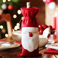 Red Wine Bottle Cover Bags Christmas Dinner Table Decoration Home Party Decors Santa Claus Christmas Supplier Free Shipping-in Christmas Decoration Supplies from Home & Garden on Aliexpress.com | Alibaba Group