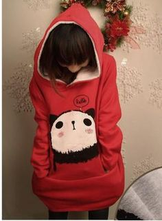 korean style Women loose Cartoon panda red Hoodies Outerwear so CUTE! Kawaii Fashion, Cute Fashion, Look Fashion, Fashion Outfits, Fasion, Fashion Hacks, Fashion Styles, Cute Hoodie, Red Hoodie
