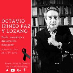 #UnDíaComoHoy pero de 1998, murió Octavio Irineo Paz y Lozano, poeta, ensayista y diplomático mexicano, galardonado con el Premio Nobel de Literatura en 1990. #HistoriaDeMéxico #ELDEH #ConoceTuHistoria