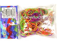 http://www.rainbowloom.com/product/mixed-neon-silicone-neon-yellow-green-pink-and-purple-colors-approximately-300-non-latex
