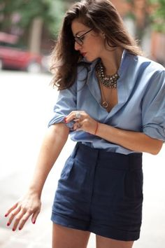 blouse, shorts, statement jewelry