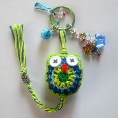 Crochet Owl Keychain in Lemon Lime reminds me of spring! by NirvanaDesigns on Etsy