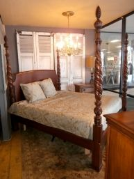 Price: $799.99 Item #: 138123 A queen size 4 poster bed from Harden Furniture that is sure to add height and drama to your bedroom with a mahogany stain, and has turned posts with engraved details all the way to the finials.