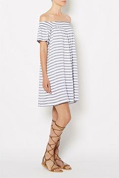 Off-shoulder Stripe Dress