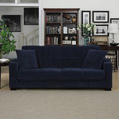 Amazon.com: Blue Transitional Tevin Navy Velvet Convert-a-Couch Storage Arm Futon Sofa: Home & Kitchen
