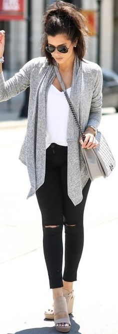 #september #trending #outfits | Grey Perfect Waterfall Cardigan + Black and…