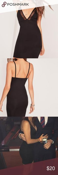 Missguided Black Bodycon Dress I only wore this once to a formal! It's a figure flattering dress. I sewed the straps in the back together (see pic) to make it look fancier- but it can easily be taken out. Perfect condition! Size 0. Missguided Dresses Mini
