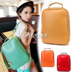 Women:s Girls Retro Casual Preppy Style PU Leather Backpack Handbag Shoulder Bag