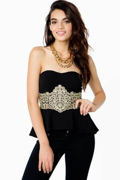 Get their attention in this showstopping peplum top featuring a gold-toned crochet detail at the waist. Padded sweetheart bust. Strapless. Elasticized back. Finished hem. Partially lined. Textured knit.