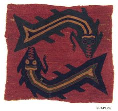 Embroidered Border Fragment  Date:4th century B.C. Geography:Peru Culture:Paracas Medium:Camelid hair, cotton Accession Number:33.149.24