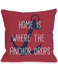 """Anchor Drops"" Decorative Pillow"