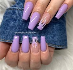 Purple Acrylic Nails, Acrylic Nails Coffin Short, Coffin Shape Nails, Summer Acrylic Nails, Frensh Nails, Swag Nails, Classy Nails, Stylish Nails, Cute Acrylic Nail Designs