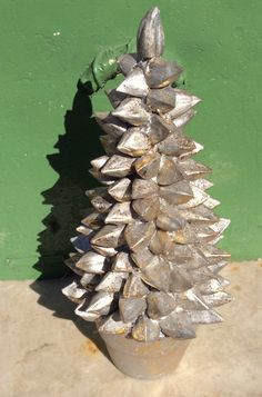 Vintage silver Christmas tree in clay pot by LADYG99 on Etsy