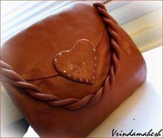 Purse Cake With Chocolate Marshmallow Fondant ~ Sankeerthanam (Reciperoll.com)|Recipes | Cake Decorations | Cup Cakes |Food Photos