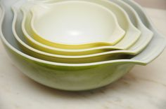 Vintage Pyrex Mixing Bowls Verde Green Yellow on Etsy, $64.00