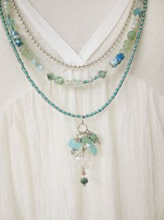 Bohemian necklace hippie turqoise mermaid gems beads layering style unique handmade Boho Kette 3-lagig türkis mint Edelstein Glaskristalle Opal