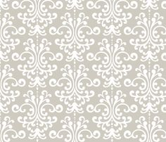 Fabric idea for head boards: damask lg beige and white fabric by misstiina on Spoonflower - custom fabric