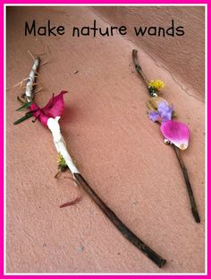 """Make nature wands. wrap some masking tape around a stick (sticky side out), go for a walk & stick small natural items onto your stick e.g. leaves, twigs, shells, feathers & seeds ("""",)"""