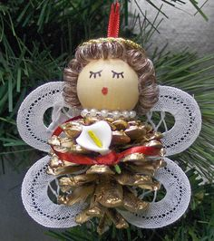 Small Ribbon Pinecone Angel Christmas Ornament