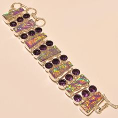 AUSTRALIAN TRIPLET OPAL WITH FACETED AMETHYST GORGEOUS- 925 SILVER BRACELET #Handmade #Chain