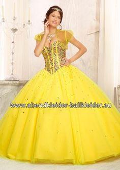 Gelbes Abendkleid Ballkleid mit Farbigen Pailetten