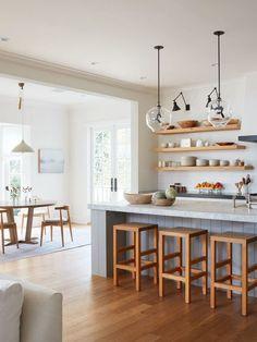 gorgeous wood tones in this colonial farmhouse kitchen | house tour on coco kelley