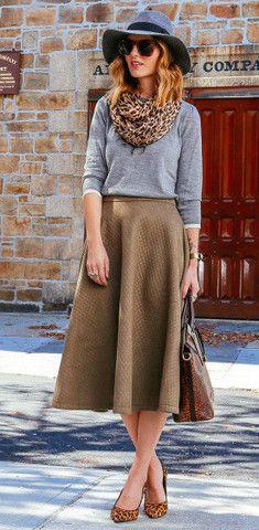 Olive Quilt Midi Skirt