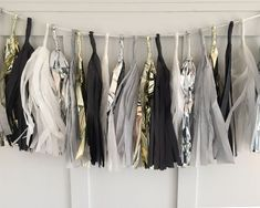 Black White and Gold Tissue Paper Tassel Pennant – Mix and Bash