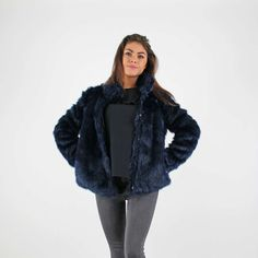 Vero Moda Navy Blue Faux Fur Short Jacket £49.99 #justlanded