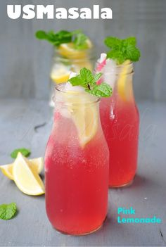 Sparkling Pink Lemonade-Fresh lemon juice, cranberry juice, club soda, sugar and water