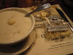 Clam chowder and oyster crackers yum by Boots in the Oven, via Flickr