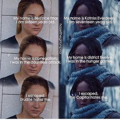 hmm. The only thing wrong with this is Tris's home isn't abnegation, it's dauntless.