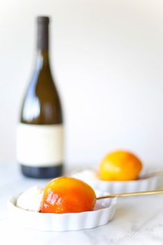 Poached peaches with mascarpone cream recipe