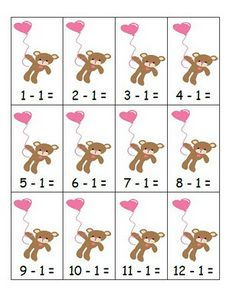 Fern's Freebie Friday ~ Math Center Game ~ Valentine's Day Subtraction Minus One