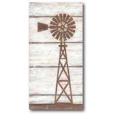 Love this Farmhouse Windmill Wrapped Canvas by Courtside Market on Farm Windmill, Windmill Wall Decor, Windmill Decor, Arte Pallet, Pallet Art, Farmhouse Paintings, Farmhouse Artwork, Rustic Painting, Graffiti