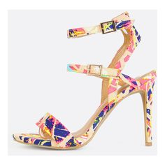 Neon Printed Single Sole Heels NEON PINK MULTI (36 AUD) ❤ liked on Polyvore featuring shoes, pumps, neon pink multi, open toe stilettos, ankle strap stilettos, stiletto pumps, neon pink shoes and ankle strap high heel pumps