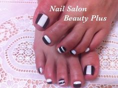Nail Salon Beauty Plus - Black and white toenails Pedicure Nail Art, Pedicure Designs, Toe Nail Art, Pedicure Ideas, Nail Ideas, Two Color Nails, Nail Colors, Classy Nails, Cute Nails