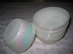 6 Beautiful Iridescent Federal Glass Bowls They remind me of a rainbow in color. These would be perfect for cereal,oatmeal or even ice cream! Vintage Moon, Glass Bowls, Milk Glass, Iridescent, Pepper, Oatmeal, Salt, Glow, Ice Cream