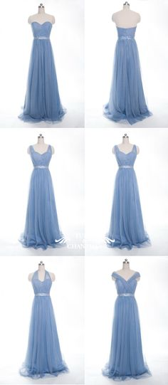 long convertible tulle windsor blue bridesmaid dresses for spring summer weddings 2016
