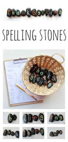 Thanksgiving Spelling Stones - how many words can you spell using only the letters in the word thanksgiving?- not just for thanksgiving. could use this as a sensory activity, with spelling words Spelling Activities, Educational Activities, Activities For Kids, Crafts For Kids, Listening Activities, Vocabulary Games, Spelling Ideas, Vocabulary Strategies, Infant Activities