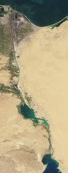 Suez Canal from a NASA image-Work officially began on building the Suez Canal on August 29th, 1859 and it opened a decade latter on November 17, 1869. The British did not relish the idea of a canal under French control because they feared French interference in their commercial and maritime affairs. The P&O had reason for opposing its building for the day it would open their capital investment in Egypt, would be lost and their monopoly on mail and passenger services would be swept away.
