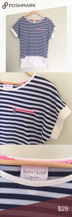 "Romeo & Juliet Couture Navy Striped Zipper Top Adorable top with pink trim and zipper detail. Some light wear on white trim fabric pictured. 25"" long front, 27"" back. 22"" pit to pit. No trades, offers welcome! Romeo & Juliet Couture Tops Tees - Short Sleeve"