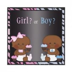 African American Gender Reveal party invitations.