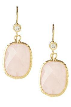Rivka Friedman  18K Gold Clad Textured Bezel Faceted Rose Quartz