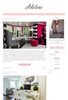 "Premade Wordpress Theme - Responsive Wordpress Theme - Genesis Child Theme - Pink Blog Template - ""Adeline"" Wordpress Template by SkyandStars on Etsy"
